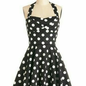 Modcloth Traveling Cupcake Dress Black Polka Dot